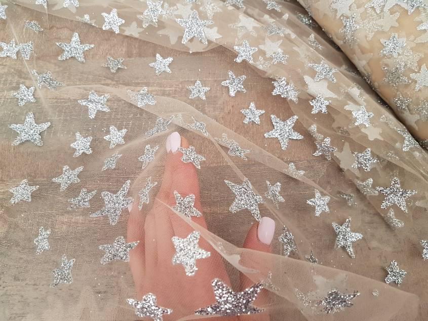 Сетка глиттер крупный Звезда № 257 фото