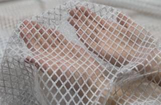 Сетка-глиттер мелкий Клетка № 1509 фото