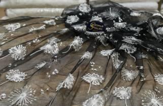 Гипюр расшитый пайеткой Одуванчик № А1182S  фото